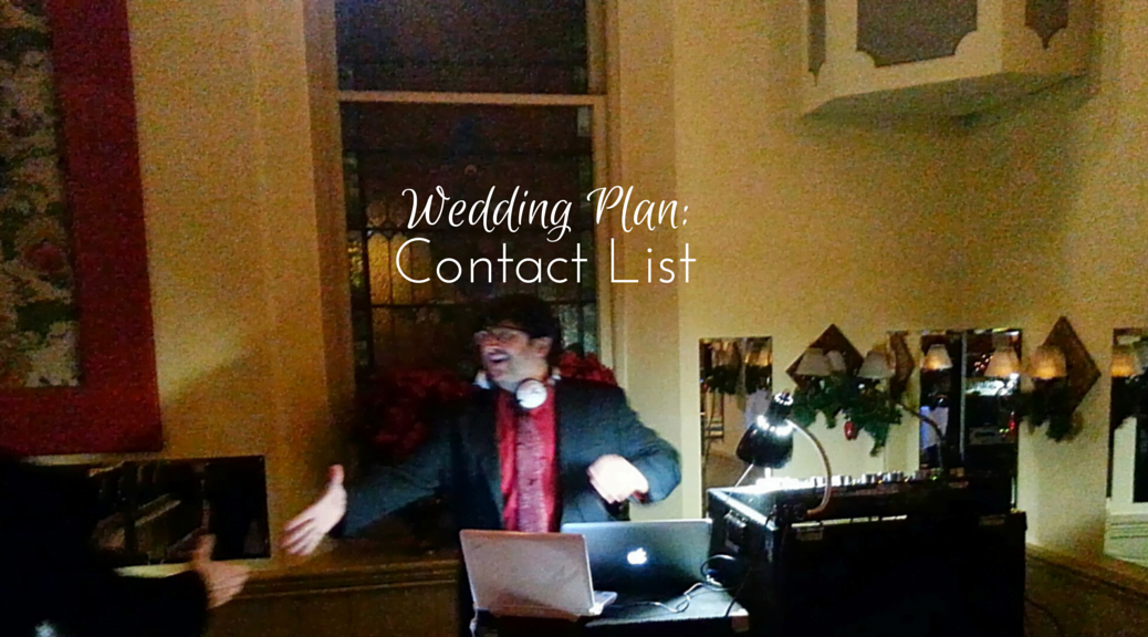 Wedding Plan: Contact List